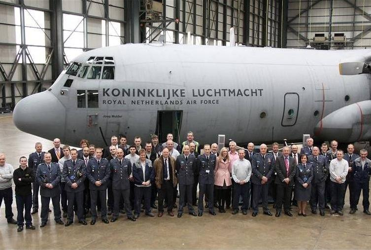 Dutch Hercules in hangar, pictured by Dutch MoD