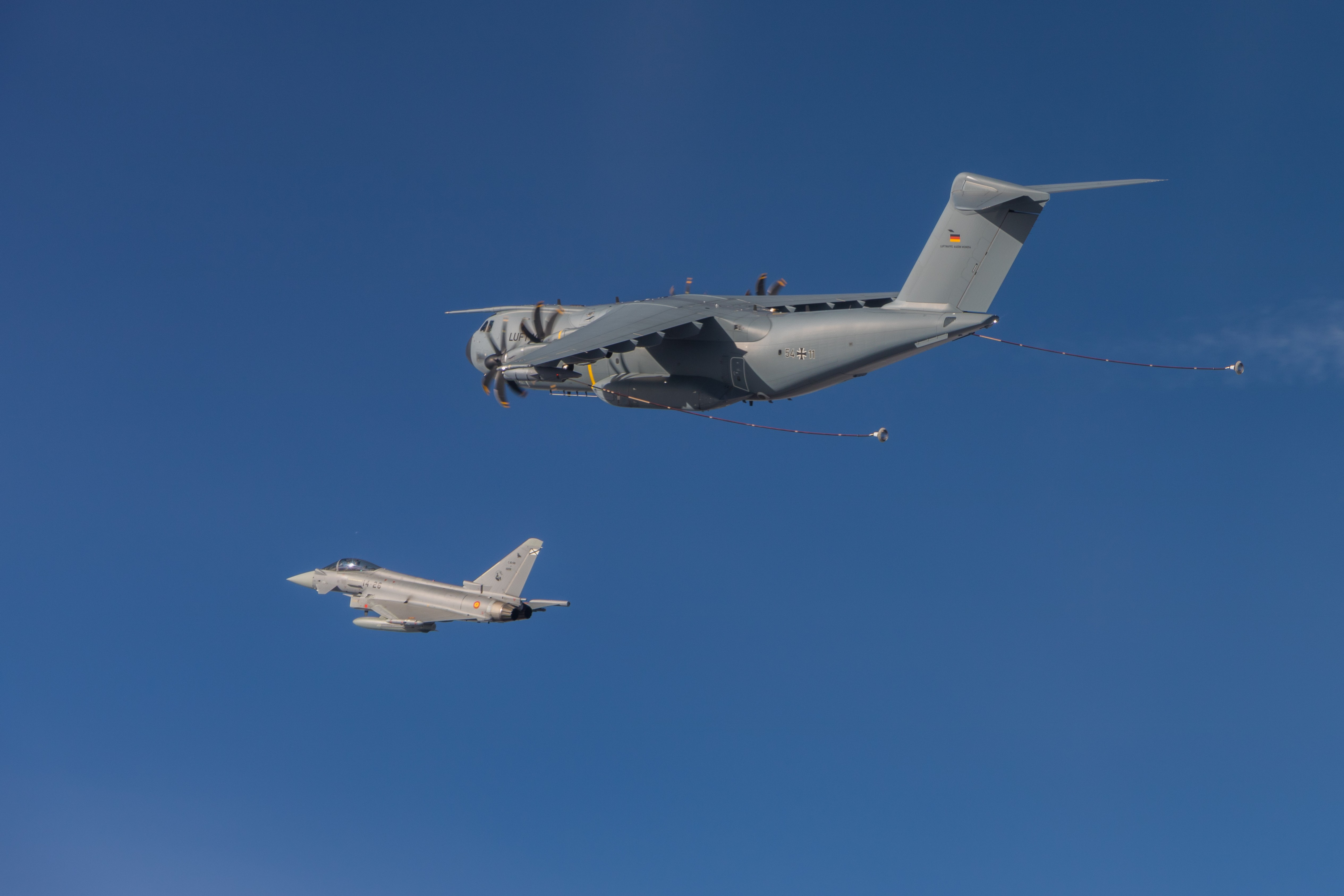 Don't miss the exclusive photos of Spanish and German A400Ms air-to-air refuelling Eurofighters!