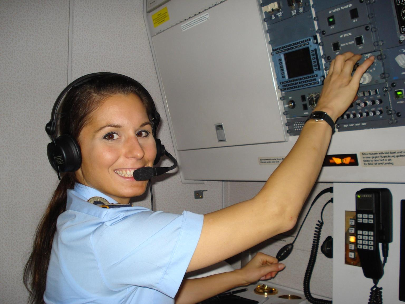 Regina at her workstation within the Airbus aircraft